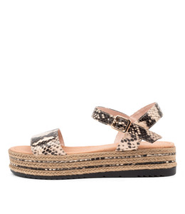ALETHAS Sandals in Nude/ Black Snake Leather