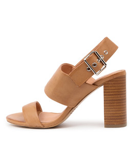 YOUR Heeled Sandals in Dark Tan Leather