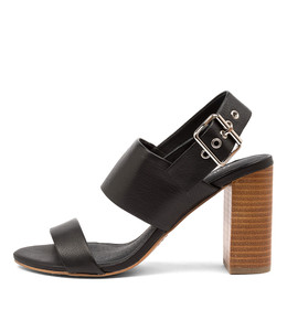 YOUR Heeled Sandals in Black Leather