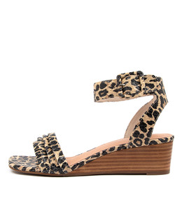 PRISSY Wedge Sandals in Ocelot Leather