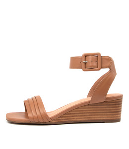 PRISSY Wedge Sandals in Tan Leather