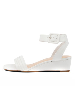 PRISSY Wedge Sandals in White Leather