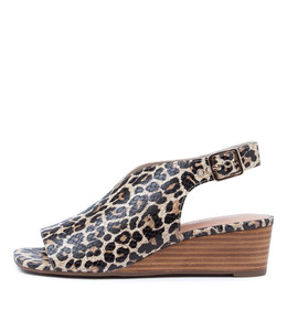PIERCE Wedge Sandals in Ocelot Leather