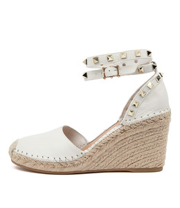 MIKKEL Espadrille Wedges in White Leather
