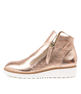 OHMY Ankle Boots in Rose Gold Leather