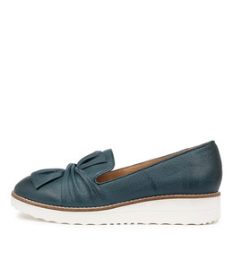 OCLEM Flatforms in Murky Blue Leather