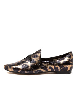 SOMMER Flats in Ocelot Black Leather