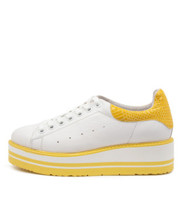SIOBHAN Sneakers in White/ Yellow Leather