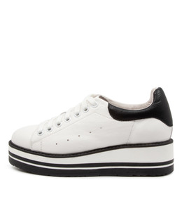 SIOBHAN Sneakers in White/ Black Leather