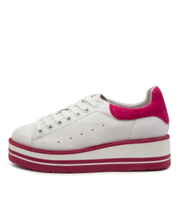 SIOBHAN Sneakers in White/ Fuchsia Leather