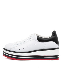 SIOBHAN Sneakers in White/ Black Tumble Leather