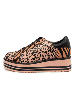 STORY Sneakers in Pink/ Black Leopard Pony Hair