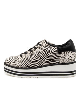 STORY Sneakers in Black/ White Zebra Pony Hair