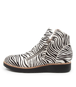 OHMY Boots in Black/ White Zebra Pony Hair