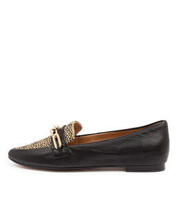 SHIRA Flats in Black Leather/ Tan Speckle Pony Hair