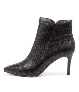 BARBAR Ankle Boots in Black Croc Leather