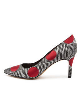 BORAT High Heels in Black/ Red Fabric