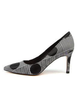 BORAT High Heels in Black/ White Fabric