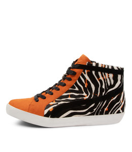 EVERY Sneakers in Orange/ Zebra Multi Leather
