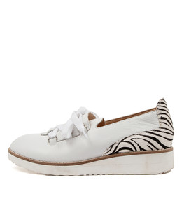 ORANGES Flats in White/ Black/ Zebra Leather