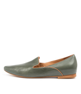 SUNSET Flats in Forest/ Tan Leather