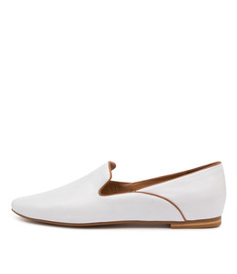 SUNSET Flats in White/ Tan Leather