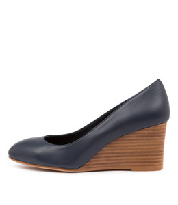 MELVINA Wedge Heels in Navy Leather