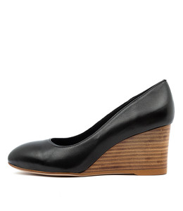MELVINA Wedge Heels in Black Leather/ Nautral Heel