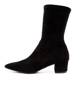AUSTON Boots in Black Microsuede