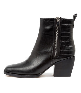 RIMA Ankle Boots in Black Croc Leather