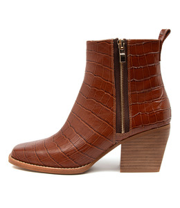 RIMA Ankle Boots in Cognac Croc Leather