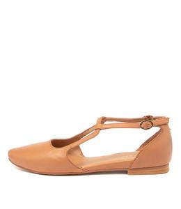 SLAMIE Flats in Tan Leather