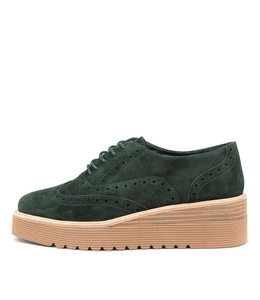 UBORN Platform Shoes in Forest Suede