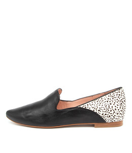 SUNSET Flats in Black Leather/ Black Speckle Pony Hair