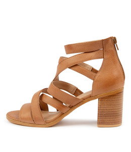 WITT Heeled Sandals in Dark Tan Leather