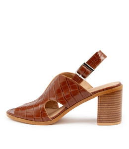 WYAT Heeled Sandals in Tan Croc Leather