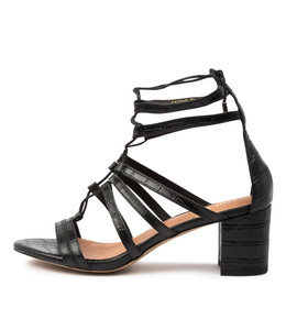 GASPAR Heeled Sandals in Black Leather