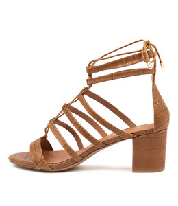 GASPAR Heeled Sandals in Tan Croc Leather