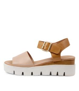 REESE Sandals in Dark Nude/ Dark Tan Leather