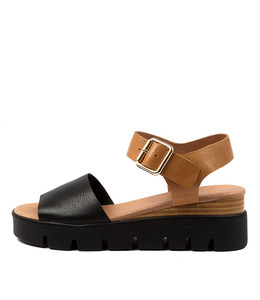 REESE Sandals in Black/ Dark Tan Leather