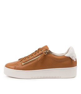 LITZY Sneakers in Dark Tan/ White Leather