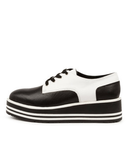 SELDON Platforms in Black/ White Leather