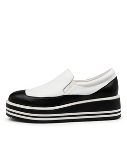 STORMY Platforms in Black/ White Leather