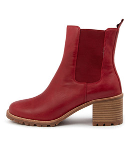 NEENA Boots in Dark Red Leather