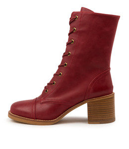 NATALIE Boots in Dark Red Leather