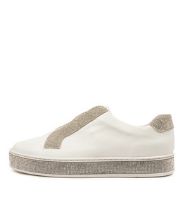 PLACATE Sneakers in White Leather/ Silver Jewels