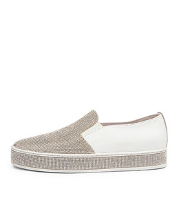 PRINCESS Sneakers in White Leather/ Silver Jewels