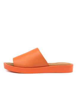 FARON Sandals in Bright Orange Leather