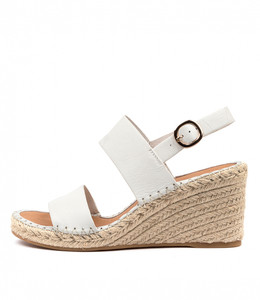 GAGA Espadrille Wedges in White Leather