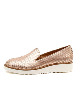 OLUS Flatform Loafers in Rose Gold Cut Leather